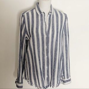 BEACHLUNCHLOUNGE- Linen/Cotton Striped Shirt. S/P